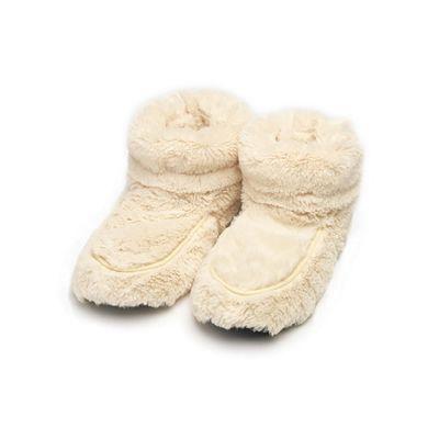 Intelex Cream Microwavable Cozy Plush Heatable Slippers Boots