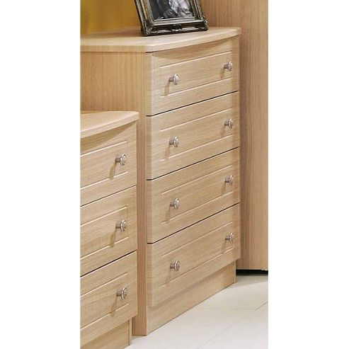 Welcome Furniture Warwick 4 Drawer Chest - Cream with Oak Finishing