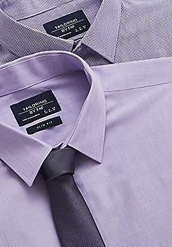 F&F 2 Pack of Easy Care Slim Fit Shirts with Tie - Lilac