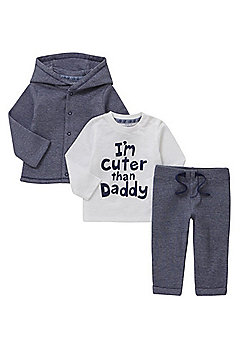 F&F I'm Cuter Than Daddy Slogan 3 Piece Set - Blue & White