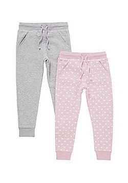 F&F 2 Pack of Heart Print and Marl Joggers - Pink