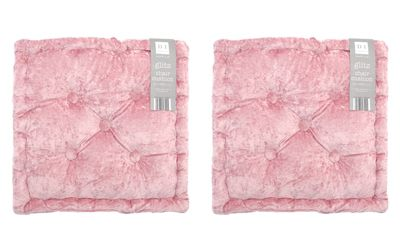 Country Club Velvet Seat Pad, Dusky Pink, Set of 2