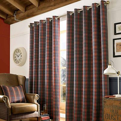 Homescapes Grey and Red Tartan Check Eyelet Curtains, 117cm x 182cm