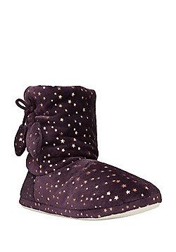 F&F Foil Star Print Bootie Slippers - Purple