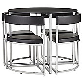 Space Saver Table and 4 Chairs Set, Black