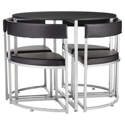 E Saver Table And 4 Chairs Set Black