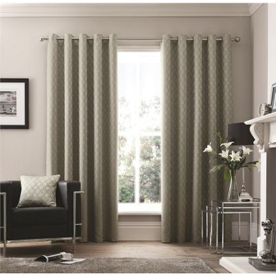 Curtina Islington Silver Eyelet Curtains 46x54 Inches (117x137cm)