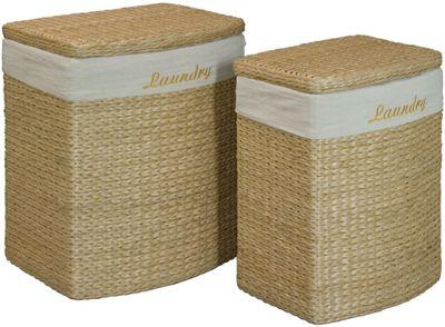 Set of 2 Wicker Laundry Baskets