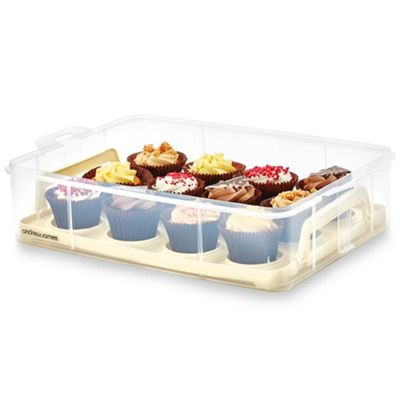 Andrew James Cupcake Carrier Additional Layer - Removable Tray & Clear Lid - Cream