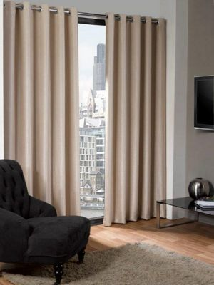 Logan Eyelet Thermal Blackout Curtains, Natural 168x229cm
