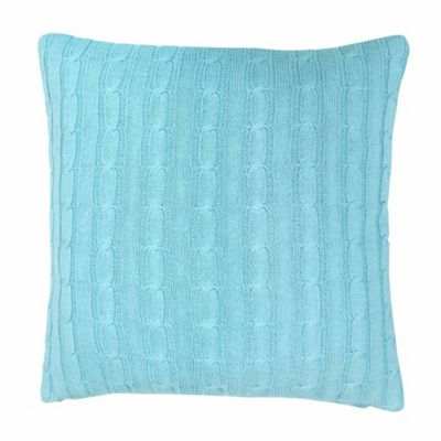 Homescapes Cotton Cable Knit Pastel Blue Cushion Cover, 45 x 45 cm