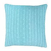 Homescapes Cotton Cable Knit Pastel Blue Cushion Cover, 45 x 45 cm