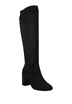 F&F Sensitive Sole Faux Suede Shower Resistant Knee High Boots - Black
