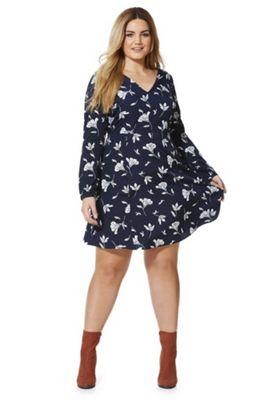 Junarose Freesia Print Plus Size Dress 22 Navy