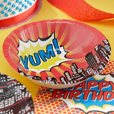 Pop Art Superhero Party Bowls - Paper - 8 Pack