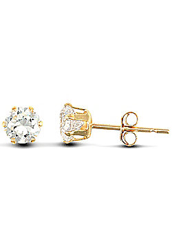 Jewelco London 9ct Yellow Gold studs claw-set with 4mm Solitaire CZ stone