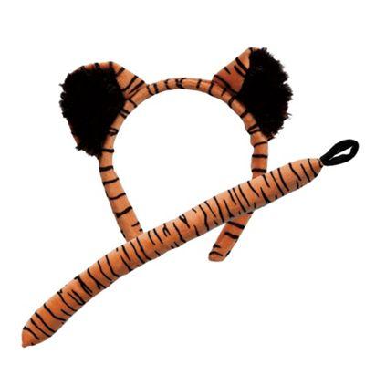 Tiger Ears Headband Tail Safari Animal Ears Fancy Dress Costume Accessory Set