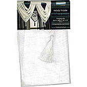 Ready Made Single Panel Voile Swag with Tassel 56 x 45cm White