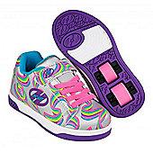 Heelys Dual Up Silver/Purple/Rainbow Kids Heely X2 Shoe - Silver