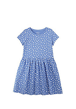 F&F Floral Print Skater Dress - Blue & White