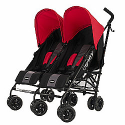 Obaby Apollo Black & Grey Twin Stroller - Red