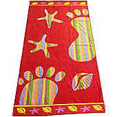 Red Footprint Beach Towel Large Bath Holiday Pool Sheet 100% Cotton