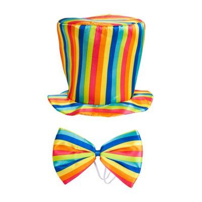 Adults Rainbow Top Hat & Bow Tie Fancy Dress Accessory