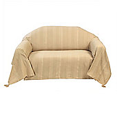Homescapes Cotton Rajput Ribbed Beige Throw, 150 x 200 cm