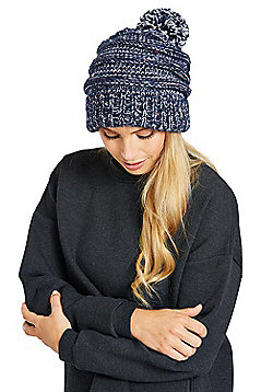 Zakti Womens Pull It Back Beanie with Chunky Knit Design & Easy Lose Fit - Blue