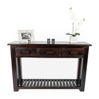 Homescapes Mangat Large Console Table Walnut Shade