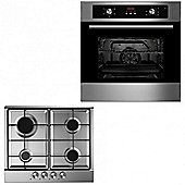 Oven & Hob Pack COF605SS GH600SS | Cookology 60cm Built-in Electric Programmable Fan Oven & Stainless Steel Gas Hob Pack