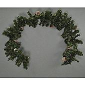 200cm Mantelpiece Pre Lit Christmas Garland with Pine Cones