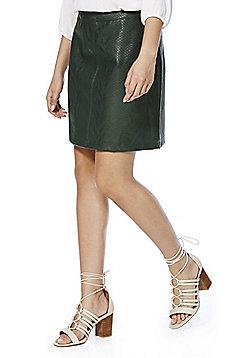 F&F Mock Croc Faux Leather Mini Skirt - Dark green