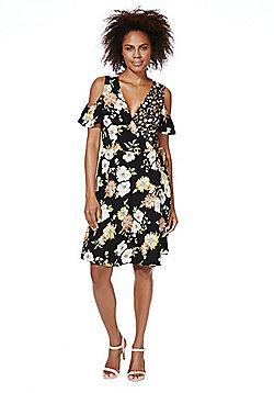 F&F Mixed Floral Print Cold Shoulder Wrap Dress - Multi