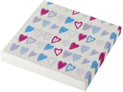 Parlane Pack of 20 Napkins - Colourful Heart Print - Pink & Blue