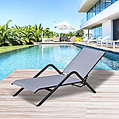 Outsunny Chaise Lounge Chair Folding Pool Recliner Yard 4 Level Height Adjustable (Grey)