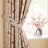 Homescapes Cotton Red Curtains Tie Backs Pair Butterfly Design