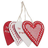 Set Of Four Red And White Wooden Heart Christmas Gift Tags