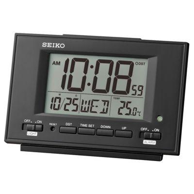 Seiko QHL075K LCD Dual Alarm Clock│Calendar│Thermometer│Snooze-Light│Black│