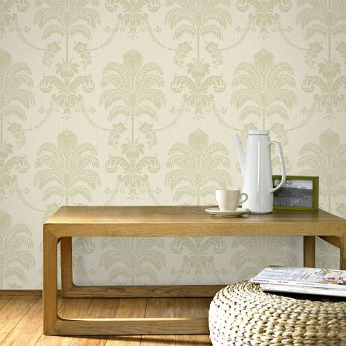 Designer Julian Macdonald La Palma Glitter Green/Cream Wallpaper