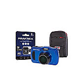 Praktica Luxmedia WP240 Waterproof Blue Camera Kit inc 8GB MicroSD Card & Case