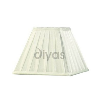 Leela Square Pleated Fabric Shade Ivory 200mm