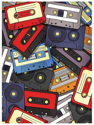 Cassette Cascade Mini Poster 32x44cm