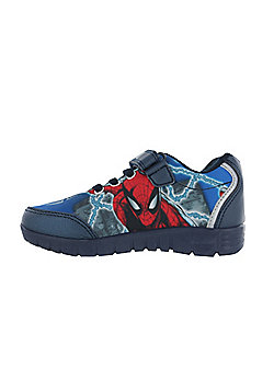 Boys Spiderman Blue Trainers Sports Shoes Hook and Loop UK Child Various Sizes - Blue