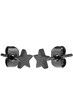 Urban Male Black Stainless Steel 5mm Star Stud Earrings for Men