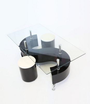 S-Shape Coffee Table High Gloss Black