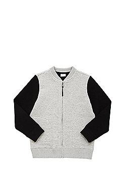 F&F Contrast Sleeve Ribbed Bomber Jacket - Grey & Black