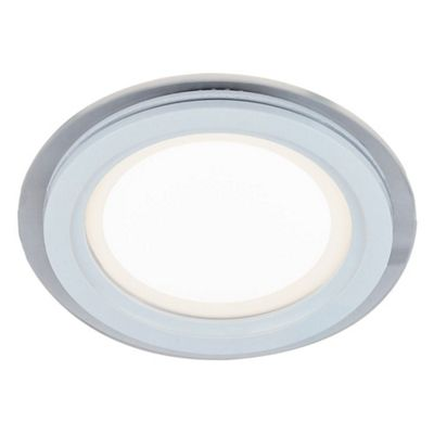 Designer White 12cm Round Ceiling Downlighter with Transparent Outer Glass Ring