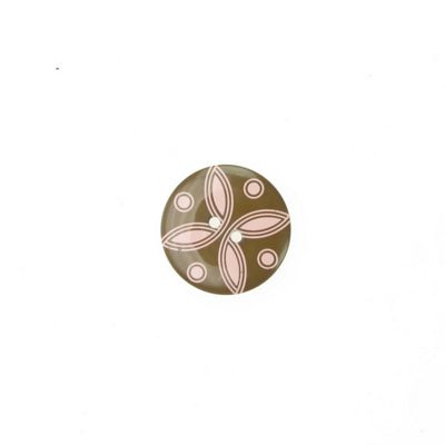 Buttons 25mm - Patterned Brown/Pink