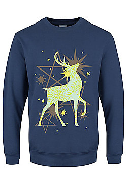 Starlight Reindeer Boyfriend Fit Airforce Blue Women's Sweater - Blue